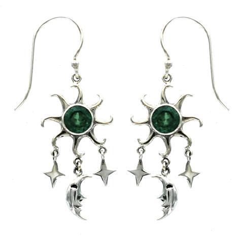 Green Quartz Silver Drop Earring