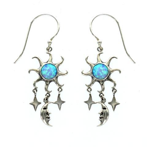 Blue Synthetic Opal Drop Earring