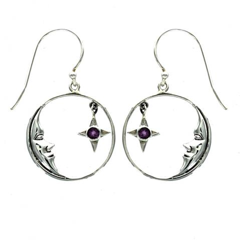 Round Amethyst Silver Earring