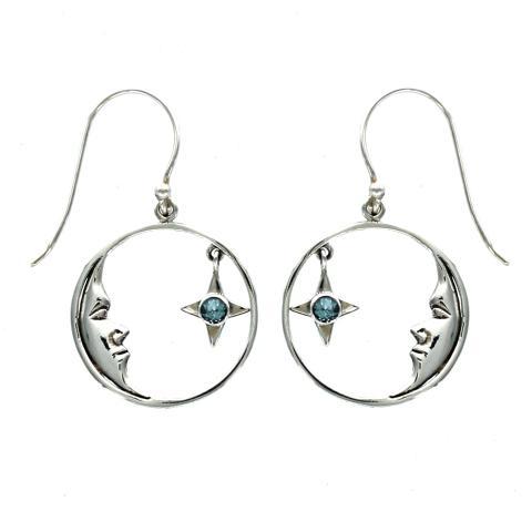 Blue Topaz Star and Silver Moon Drop Earrings