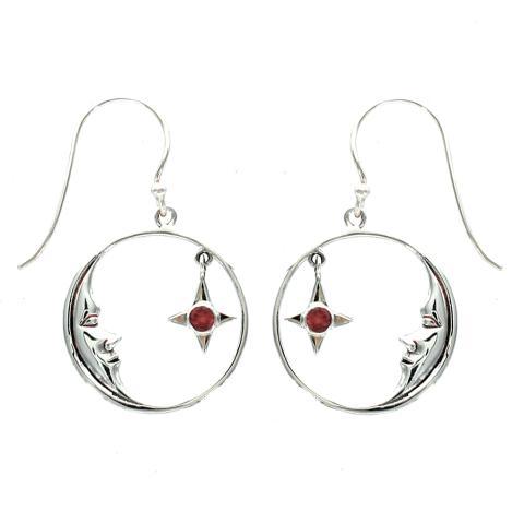 Garnet Silver Earring
