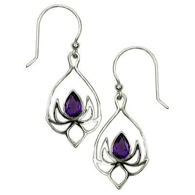Lotus Drop Amethyst Earrings