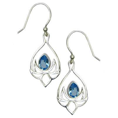 Lotus Drop Blue Topaz Earrings