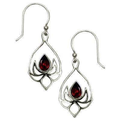 Lotus Drop Garnet Earrings
