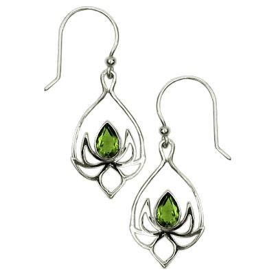 Lotus Drop Peridot Earrings