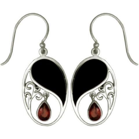 Dark Shell w/ Garnet Oval Earrings