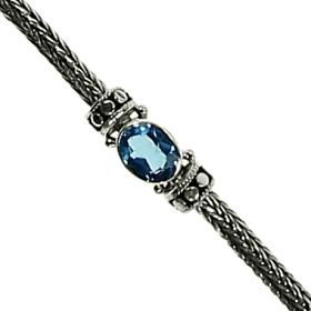 Dot Weave Blue Topaz Stone Bracelet