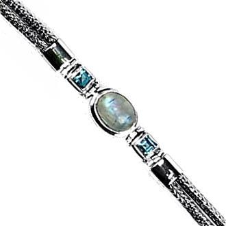 Blue Moonstone & Blue Topaz Stone Bracelet