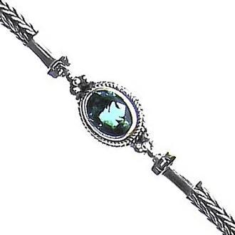 Blue Topaz & Chain Bracelet