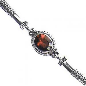 Garnet & Chain Bracelet