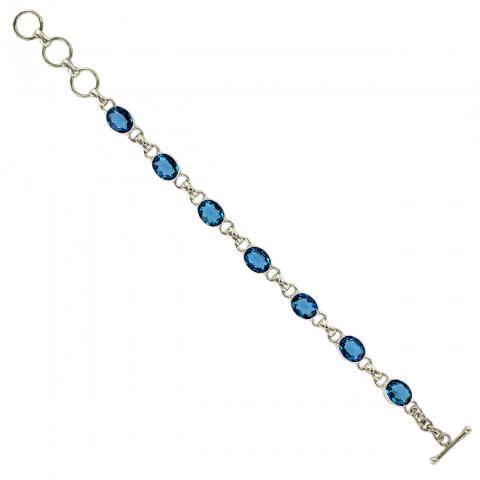 Swiss Blue Quartz Silver Bracelet