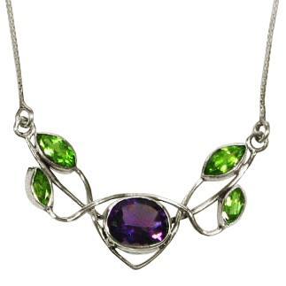 Five Stone Amethyst & Peridot Necklace