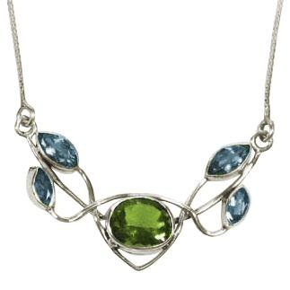 Five Stone Blue Topaz & Peridot Necklace