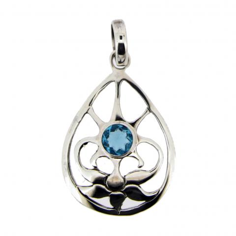 Swiss Blue Quartz Silver Pendant