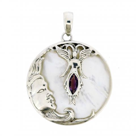 Amethyst & Mother Of Pearl Pendant