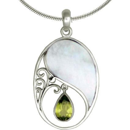 Sterling Silver Peridot w/ Mother of Pearl Oval Pendant