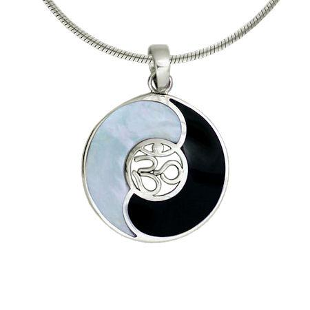 Sterling Silver Yin/Yang Mother of Pearl And Dark Shell Ohm Pendant