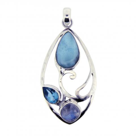 Larimar with blue topaz and blue moonstone accents pendant
