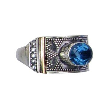 Granulated Blue Topaz Ring w/ 18k Gold Overlay