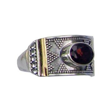 Granulated Garnet Ring w/ 18k Gold Overlay