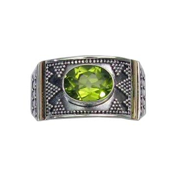 Granulated Peridot Ring w/ 18k Gold Overlay