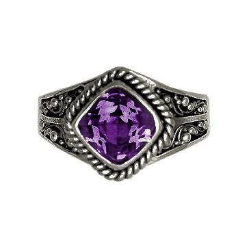 Square Stone Amethyst Ring