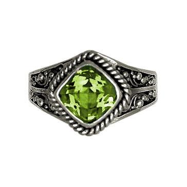Square Stone Peridot Ring
