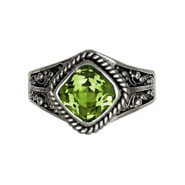 Square Stone Peridot Ring