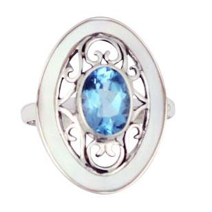 Blue Topaz & Mother of Pearl Silver Ring