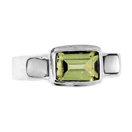 Peridot & Mother of Pearl Silver Ring