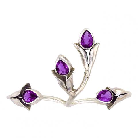 Amethyst Two-Finger Ring - Adjustable Size