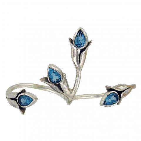 Swiss Blue Topaz Two-Finger Ring