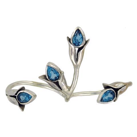 Swiss Blue Topaz Two-Finger Ring