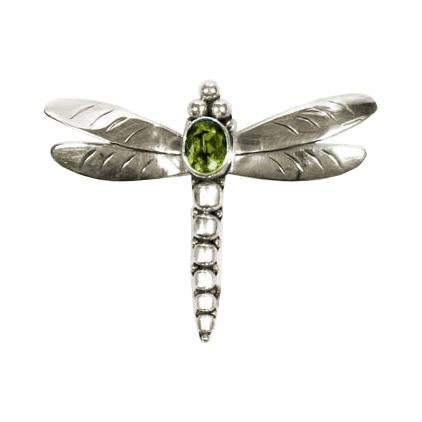 Peridot Dragonfly Pin - Pendant