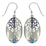 Swiss Blue Topaz Grande Tree of Life Earring