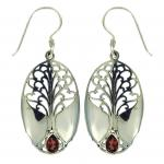 Garnet Grande Tree of Life Earring