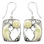 Bone Carved Face Silver Earring