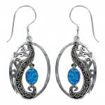 Blue Cultured Opal Drop Earring