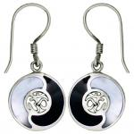 Mother of Pearl And Dark Shell Om Earrings