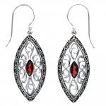 Garnet Ornate Marquise Earring