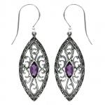 Amethyst Ornate Marquise Earring