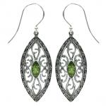 Peridot Ornate Marquise Earring