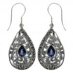Blue Quartz Silver Drop Earring