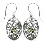 Peridot Drop Oval Earring