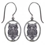 Silver Drop Owl Earring