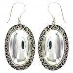 Oval Silver Drop Earring