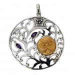 Amethyst & Bone Carved Face Tan Pendant