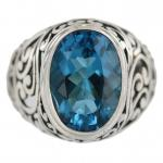 Swiss Blue Quartz Silver Ring
